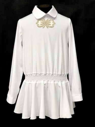 AGATKA блузка дл.рук. туника белая (р.128-158) - фото 10454