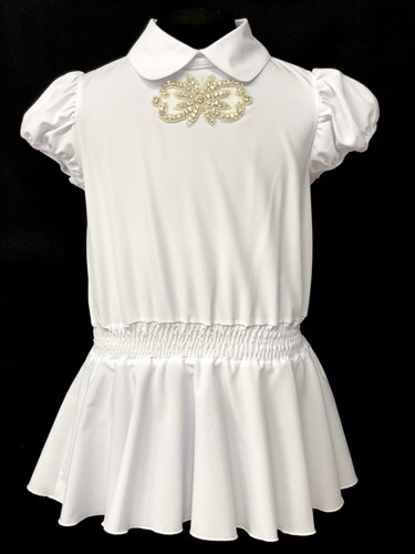 AGATKA блузка короткий рукав, туника белая (р.128-158) - фото 10456