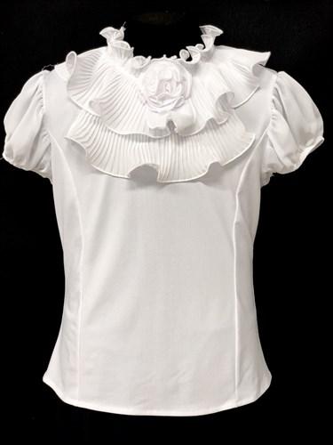 AGATKA блузка кор.рук. роза на вороте, белая (р.128-158) - фото 10476