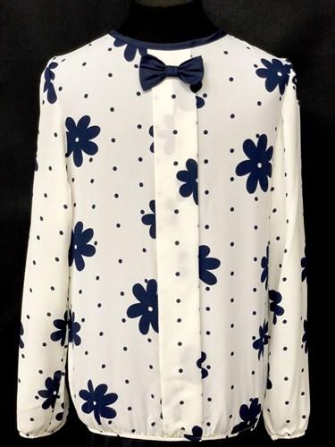 SLY блузка дл.рук. кремовая (цветы)(р.128-164) - фото 10501