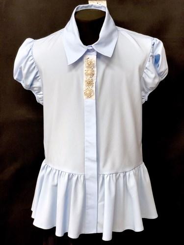 AGATKA блузка короткий рукав, туника голубая (р.140-164) - фото 10559