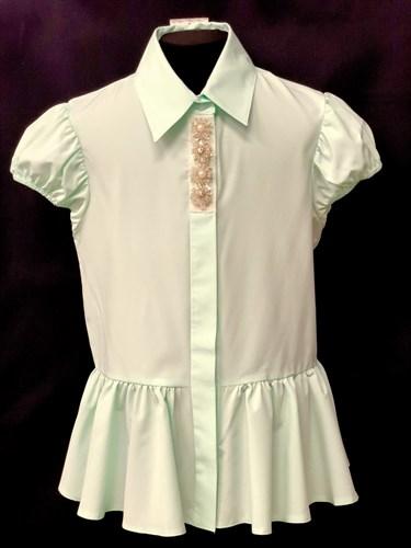 AGATKA блузка короткий рукав, туника мятная (р.140-164) - фото 10563