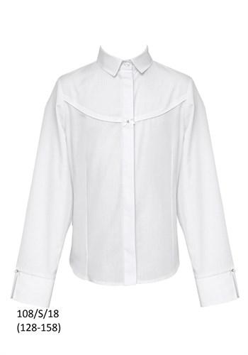 SLY модель 108/S/18 блузка длинный рукав, белая (р-ры128-158) 6 шт. - фото 10594