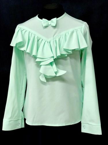 AGATKA блузка длинный рукав оборка,бантик, мята (р128-158) - фото 10644