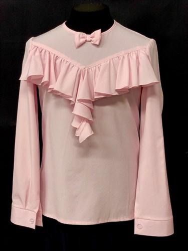 AGATKA блузка длинный рукав, оборка, бантик, розовая (р128-158) - фото 10646