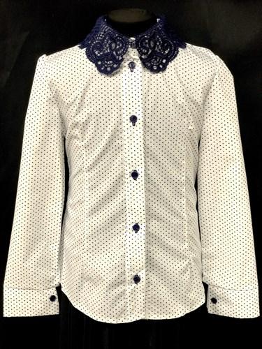 блузка ЛЮТИК модель 20182 длинный рукав, белая (рост128,134,140,146,152) - фото 10719