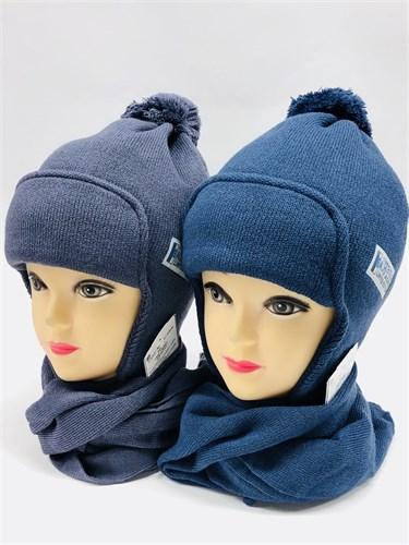 AGBO комплект 1545 HENIO шапка с утеплит.подкл.хлопок+шарф (р.52-54) - фото 11101