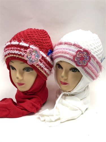 GRANS комплект A201 шапка двойная вязка+шарф (р.48-50) - фото 11303