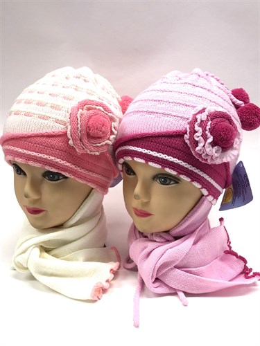 GRANS комплект A 395 шапка двойная вязка+шарф (р.46-48) - фото 11305