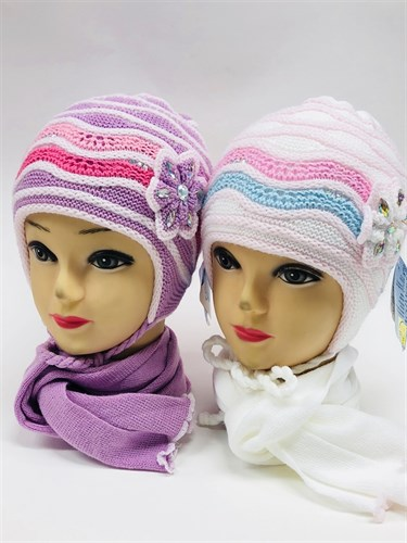 GRANS комплект A 394 шапка двойная вязка+шарф (р.46-48) - фото 11307