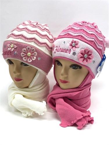 GRANS комплект A 399 шапка двойная вязка+шарф (р.46-48) - фото 11315