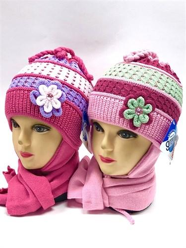 GRANS комплект A316 шапка двойная вязка+шарф (р.46-48) - фото 11317