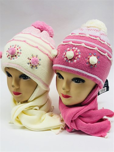 AGBO комплект kpl Fantazja шапка двойн.вязка+шарф (р.50-52) - фото 11327