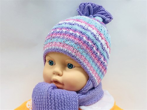 Politano комплект шапка двойная вязка+шарф (р.40-42) - фото 11353
