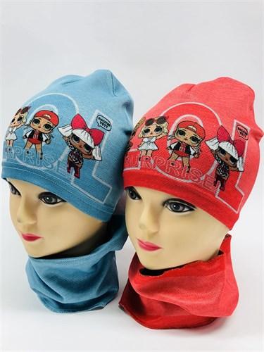 Milli комплект 18-609k шапка одинарный трикотаж + снуд (р.52-54) - фото 11590