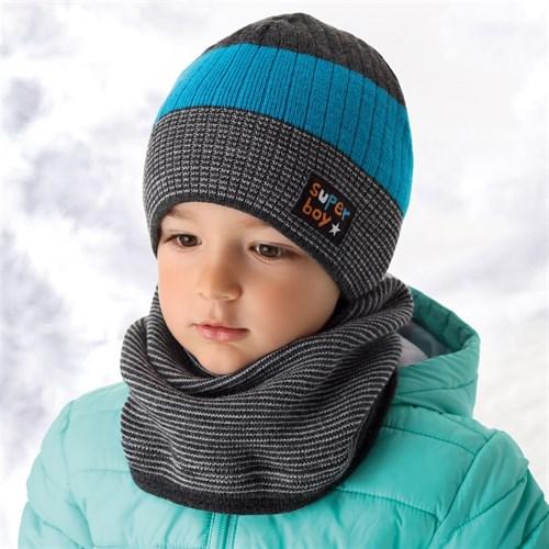 .AJS шапка и снуд для мальчика 36-370 подклад флис (р.50-52) super boy - фото 11906