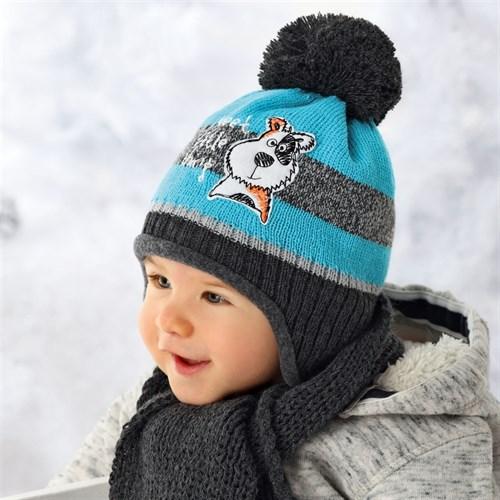 .AJS шапка для мальчика 36-321 подклад  флис + шарф (р.40-42) dog - фото 11974