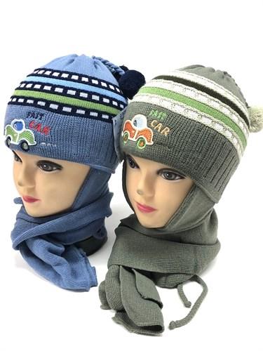 GRANS комплект A289 шапка двойн.вязка + шарф (р.44-46) - фото 12253