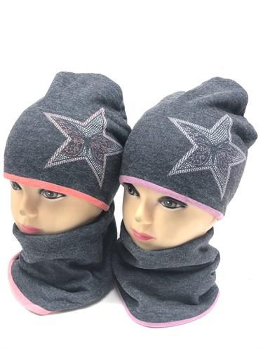 ambra комплект шапка трикотажная с утеплителем + снуд (р.52-54) серая звезда - фото 12275
