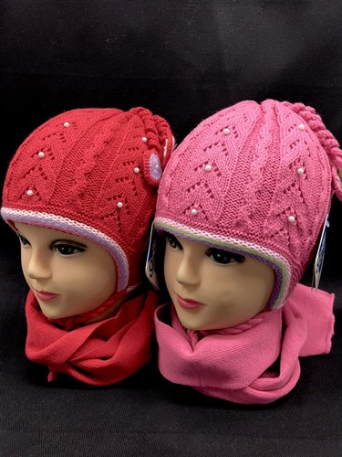 GRANS комплект K 201 шапка двойная вязка+шарф (р.46-48)красные - фото 12372