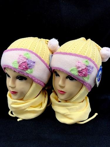 GRANS комплект K 202 шапка двойная вязка+шарф (р.46-48) - фото 12375