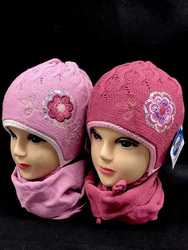 GRANS комплект A 306 шапка двойная вязка+шарф (р.46-48) - фото 12376