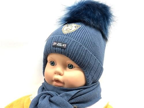 LVG модель 5647 шапка вязаная с утеплителем+шарф (р.38-42) - фото 12381