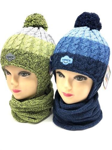 GRANS комплект  AM 105 ST шапка с утеплителем, подклад хлопок+снуд (р.46-48) - фото 12478
