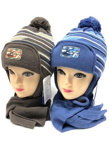 AGBO комплект 1590 JODOR с утеплителем шапка подклад хлопок+шарф (р.50-52) - фото 12499