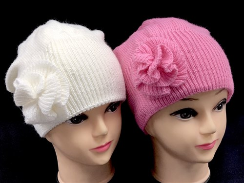 Aguti шапка-берет двойная вязка (р.54-56) цветок - фото 12584
