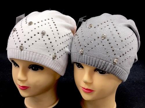 DIV шапака двойная вязка (р.52-54) - стразы - фото 12638