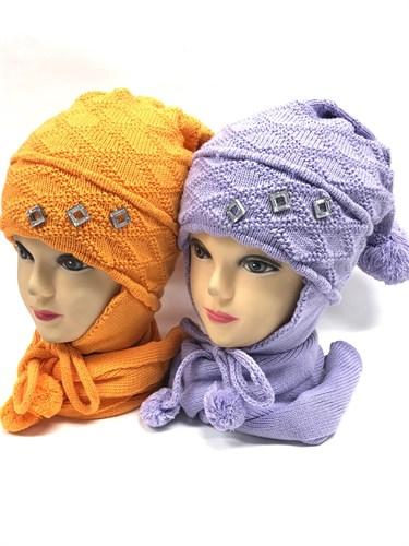 STING комплект, шапка двойная вязка + шарф (р.52-54) - фото 12676