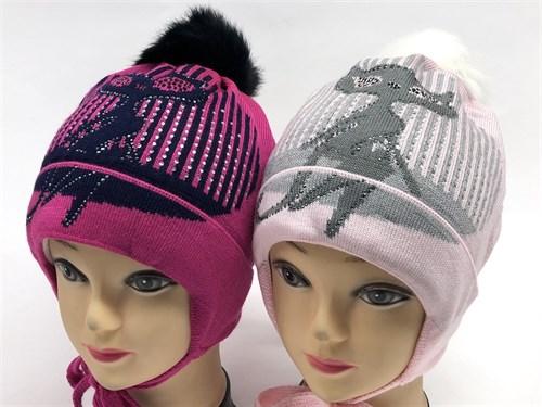 Aguti модель 408 шапка для девочки подклад флис (кошка-стразы) - фото 12747