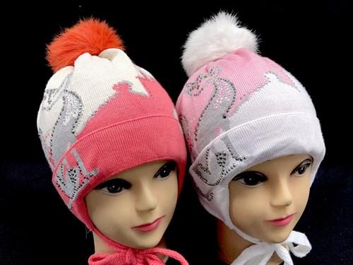 Aguti модель 409 шапка для девочки подклад флис (кошка-стразы) - фото 12748