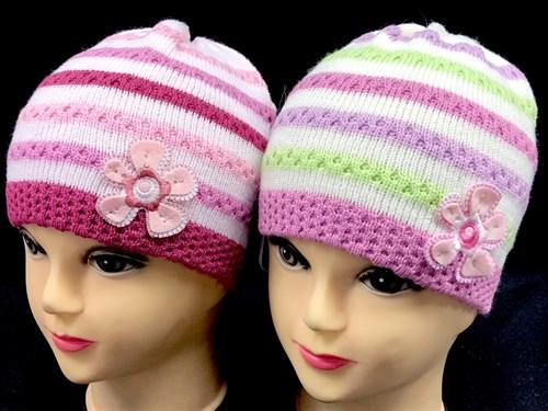 GRANS шапка для девочки одинарная вязка (р.46-48) полоски и цветок - фото 12879