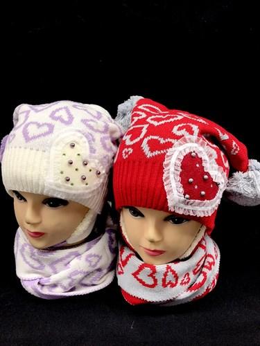 HILLTOP шапка для девочки с шарфом подклад махра (р.52-54) - фото 13363