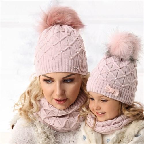 .AJS комплект 36-493 шапка подклад флис+снуд (р.52-54) для мамы - фото 13398