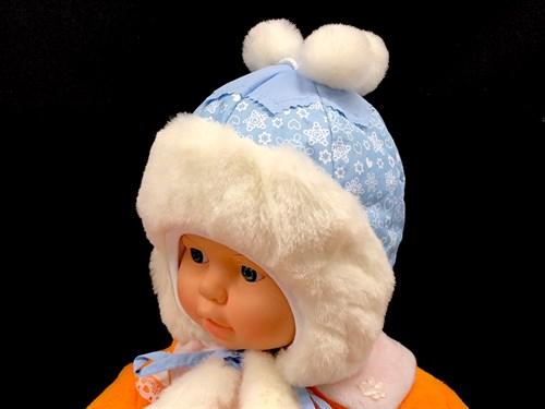 шапка болоневая Филиппок 2716-1 Снежок, с утеплителем, подклад хлопок (р.50) - фото 13585