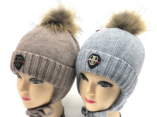 Angel шапка AN-6352 вязаная(кролик), подклад  хлопок (р.50-52) коричневая - фото 13746