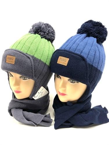 AGBO комплект 1334 LUDWIK шапка вязаная, подклад флис + шарф (р.50-52) - фото 13902
