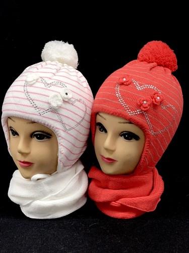 ambra комплект шапка подкл.мех+шарф (р.50-52) сердечки-стразы - фото 13904