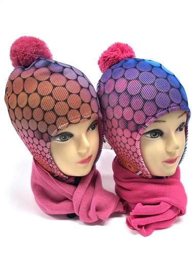 Makaro шапка подклад флис + шарф (р.50-52) - фото 13914