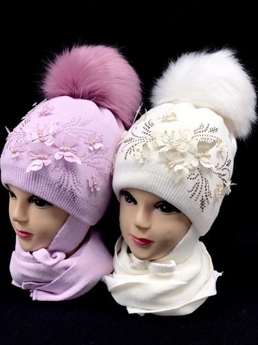 LVG комплект шапка на утеплителе, подклад хлопок + шарф (р.52-54) - фото 13977