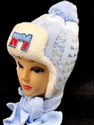TOMAR комплект, шапка вязаная, подклад мех + шарф (р.50-52) - фото 14324