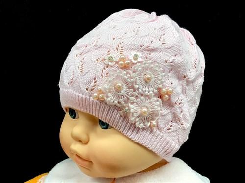 Korkki шапка одинарная-ажурная вязка (р.48-50) 3 цветка - фото 14785