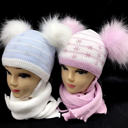 AGBO комплект 1347 ELIZA шапка подклад флис + шарф (р.42-44) - фото 14797