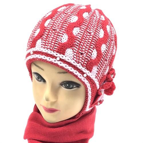 GRANS комплект M 202 шапка двойная вязка+шарф (р.46-48) - фото 14816