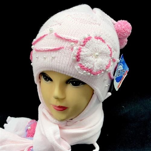 GRANS комплект A 499 шапка двойная вязка + шарф (р.44-46) малиновый - фото 14834