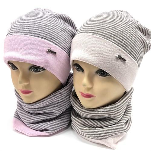 GRANS комплект K 495 шапка двойная вязка+снуд (р.52-54) - фото 15279