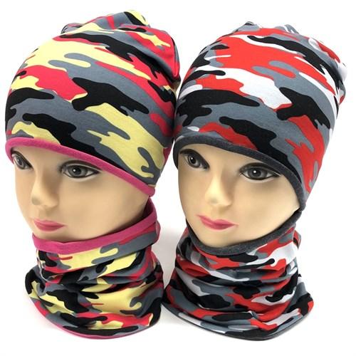 Ambra комплект: шапка двойной трикотаж+снуд камуфляж(р.48-50) - фото 15438